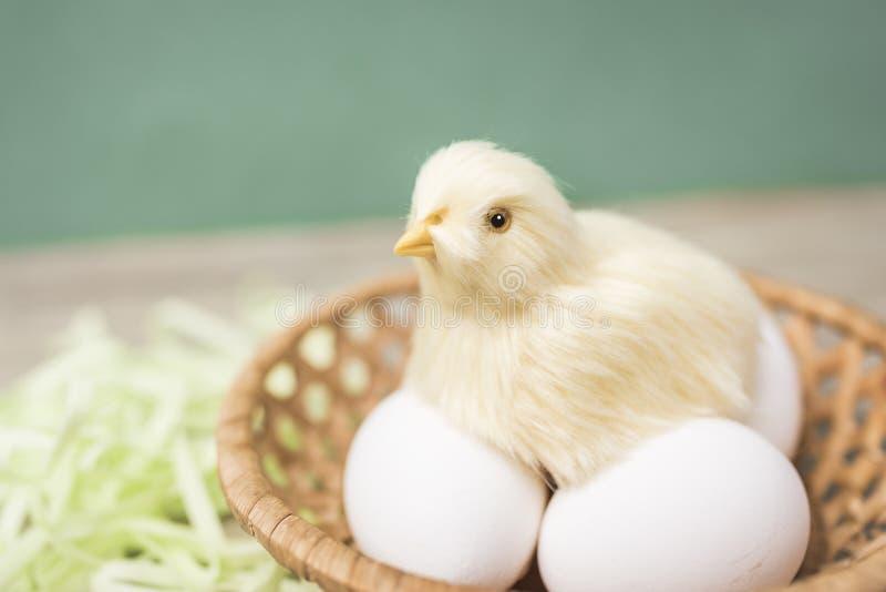 虚假小鸡坐在篮子的鸡蛋 免版税图库摄影