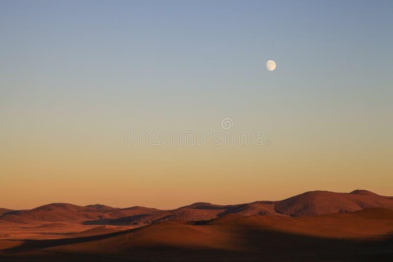 虚度在与蓝天的日落在背景中在内蒙古大草原在Wulanbutong 库存图片
