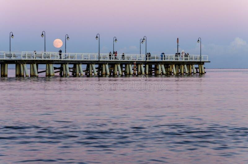 虚度在格丁尼亚orlowo的码头在波罗的海在波兰 免版税库存图片