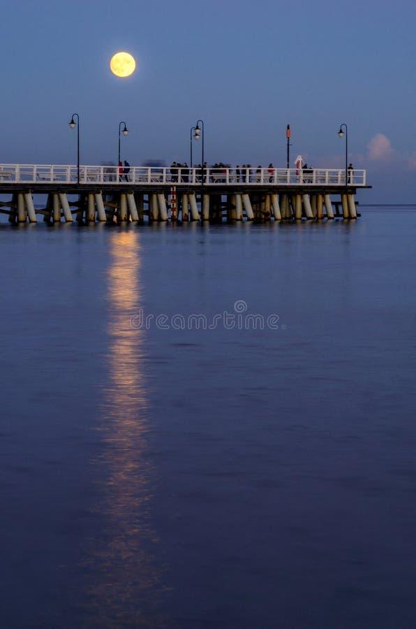 虚度在格丁尼亚orlowo的码头在波罗的海在波兰 免版税库存照片