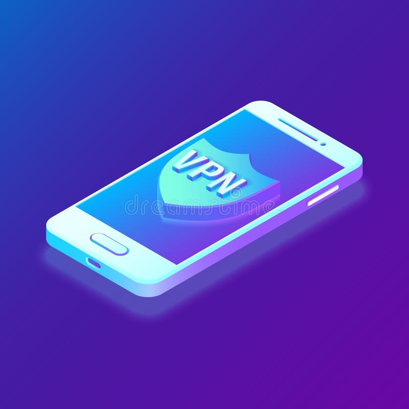 虚拟专用网络, VPN,资料加密, IP替补 智能手机vith安全盾 网络安全和 库存例证