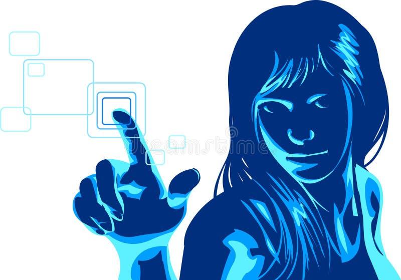 虚拟女孩的黑客 向量例证