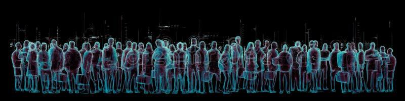 虚拟现实人群全景 向量例证