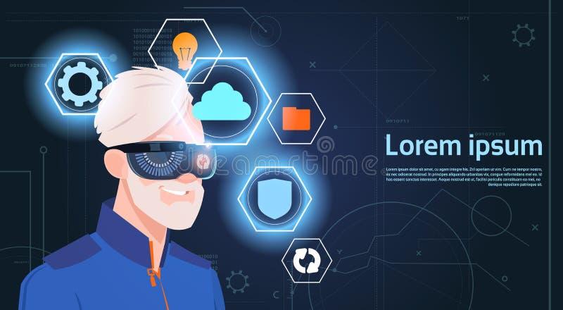 虚拟现实佩带Vr耳机玻璃数字式风镜的老人概念画象 库存例证