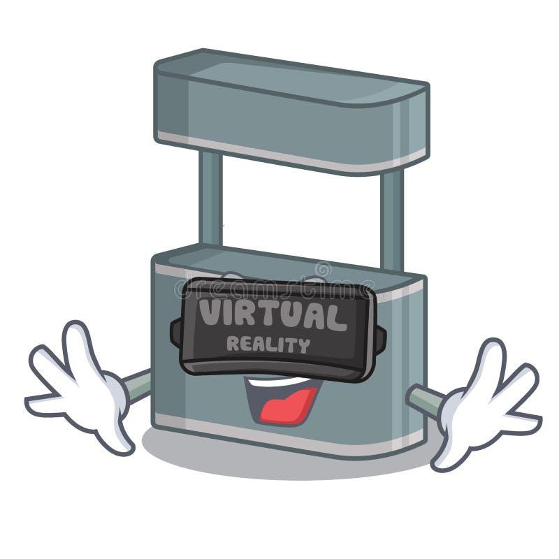 虚拟现实在动画片路旁的贸易立场 库存例证