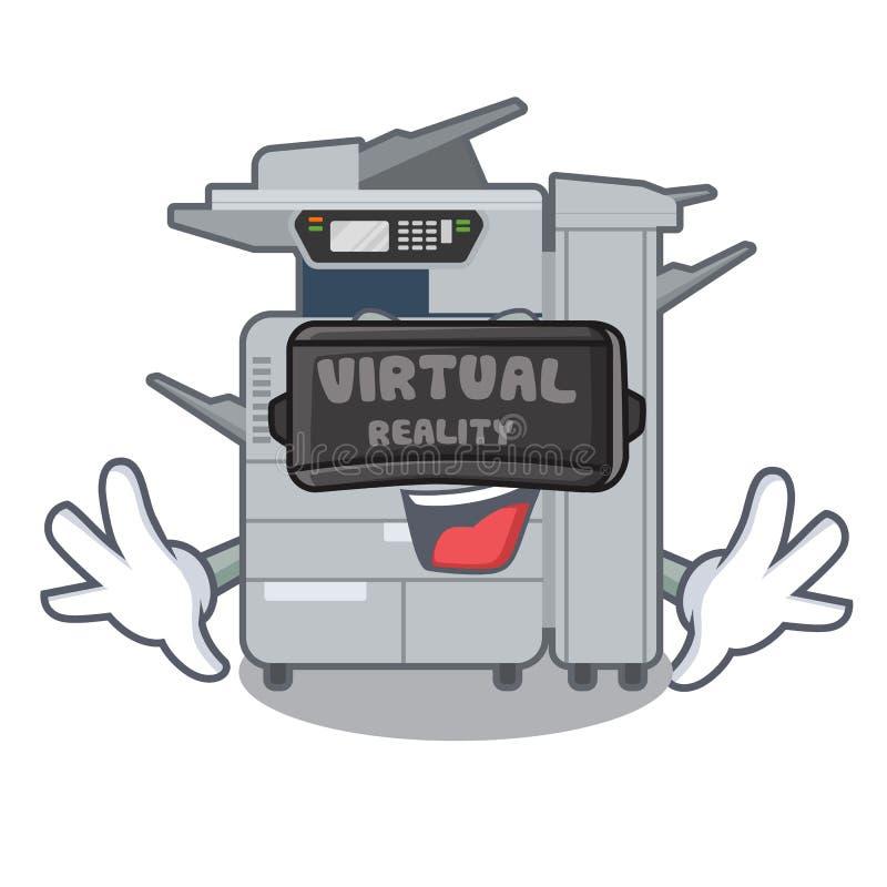 虚拟现实在吉祥人木桌上的影印机机器 库存例证