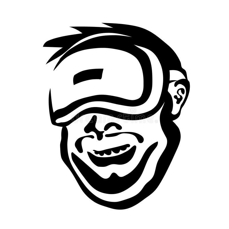虚拟现实玻璃的快乐的人  Cybersport,VR象征 游戏玩家例证传染媒介头 向量例证