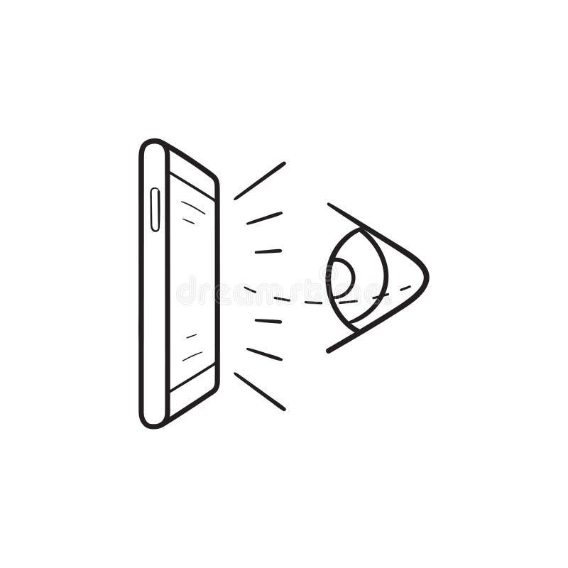 虚拟现实眼睛和手机手拉的概述乱画象 皇族释放例证