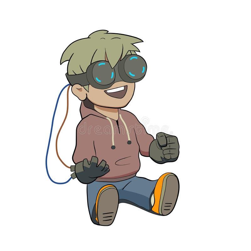 戴虚拟现实眼镜的赤壁孩子 库存例证