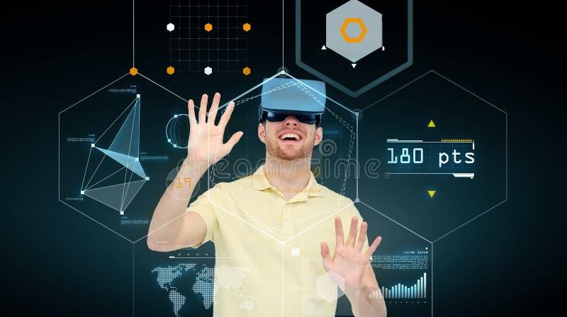 虚拟现实耳机或3d玻璃的愉快的人 向量例证