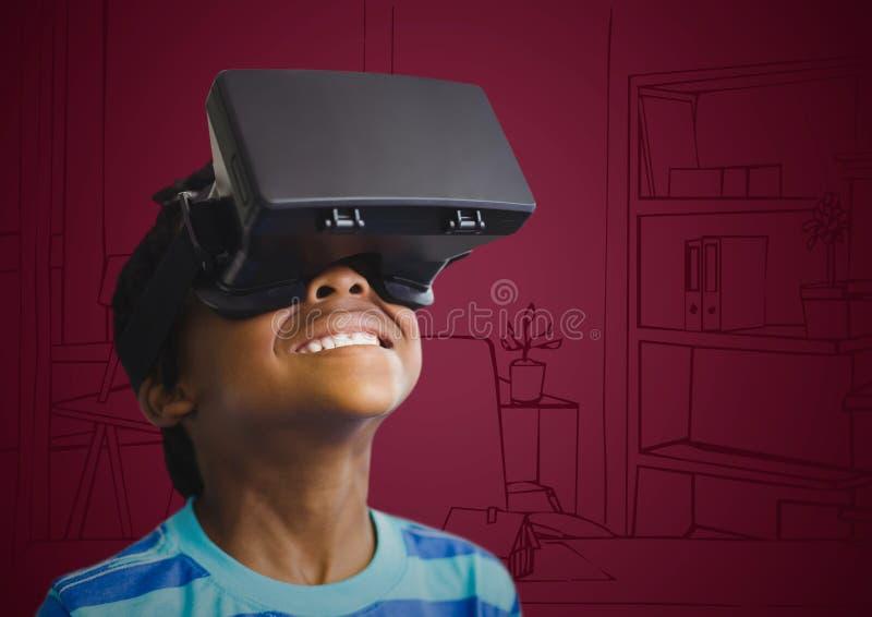 虚拟现实耳机的男孩反对褐红的手拉的办公室 向量例证