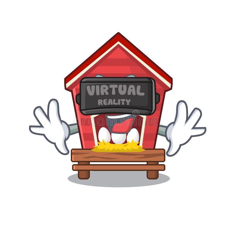 虚拟现实鸡舍在字符房子围场 向量例证