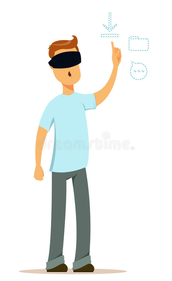 虚拟现实玻璃工作的人在起始的想法 现代年轻人、设计师或者程序员 皇族释放例证