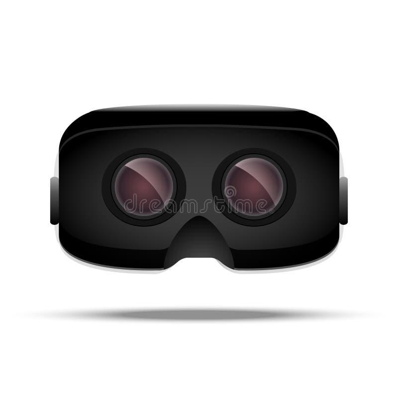 虚拟现实3d概念设备 数字式电子娱乐 VR玻璃 创新技术正面图 向量例证
