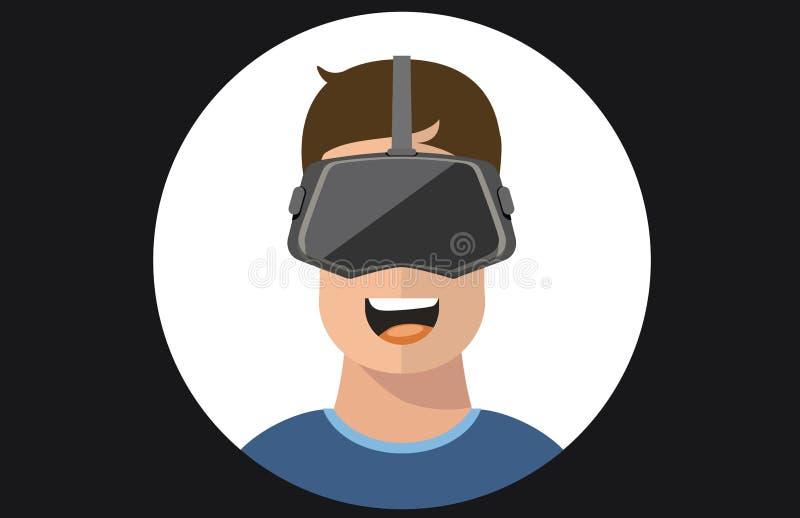 虚拟现实VR玻璃人平的象 库存例证