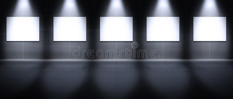 虚拟画廊的横向 向量例证