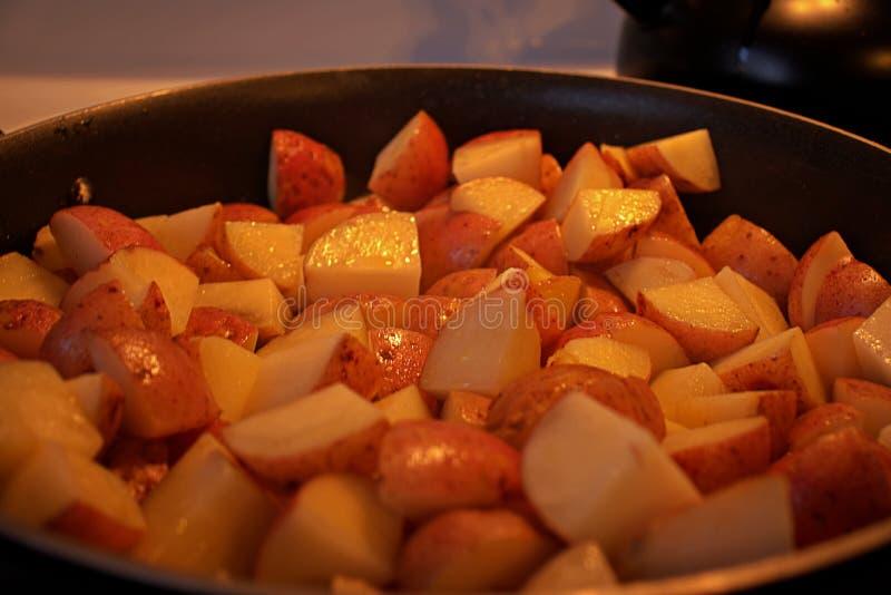 虚构晚餐的有些土豆 库存照片