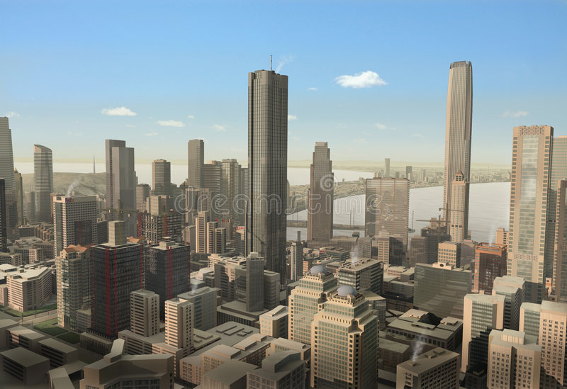 虚构的城市 库存照片