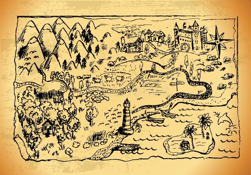 虚构的手拉的老地图 皇族释放例证