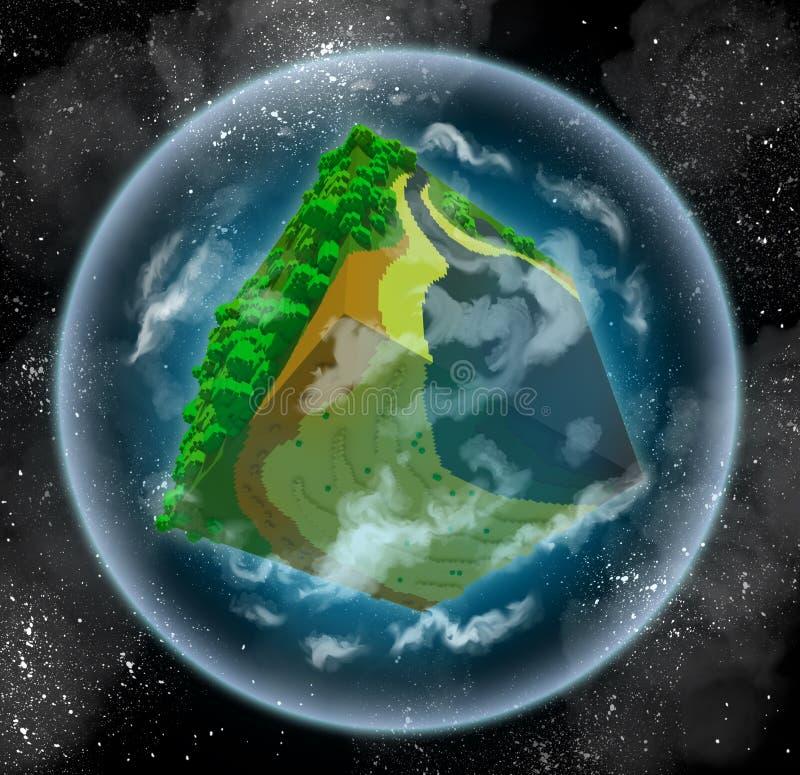 虚构的立方体行星 库存例证