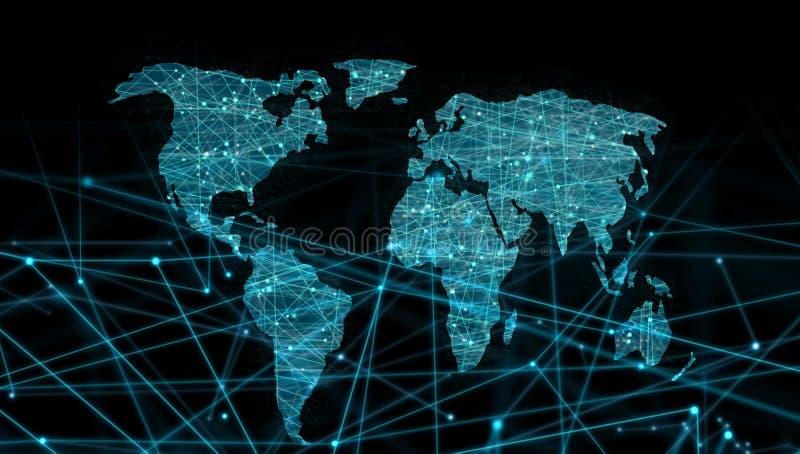 虚线世界地图连接,全球化 库存例证
