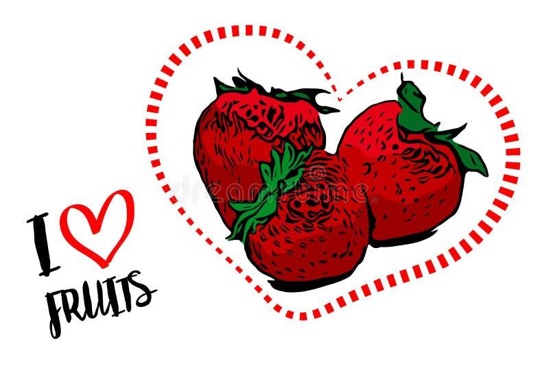 虚线红心形状用里面三个红色草莓 库存例证