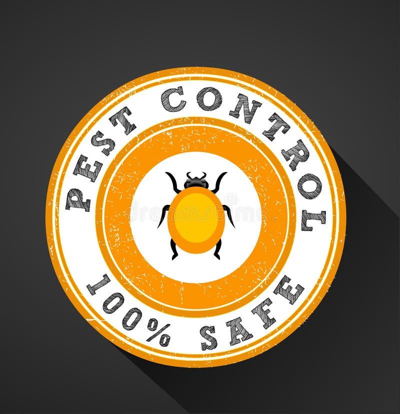 虫象,害虫控制100%保险柜图表平的设计徽章 库存例证