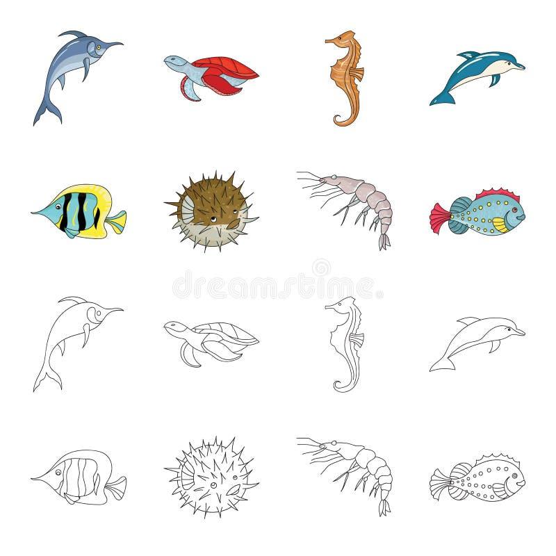 虾、鱼、猬和其他种类 海洋动物设置了在动画片,概述样式传染媒介标志股票的汇集象 向量例证