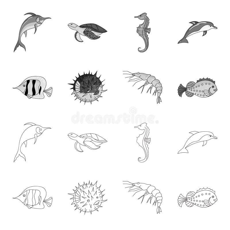虾、鱼、猬和其他种类 海洋动物设置了在概述,单色样式传染媒介标志的汇集象 库存例证