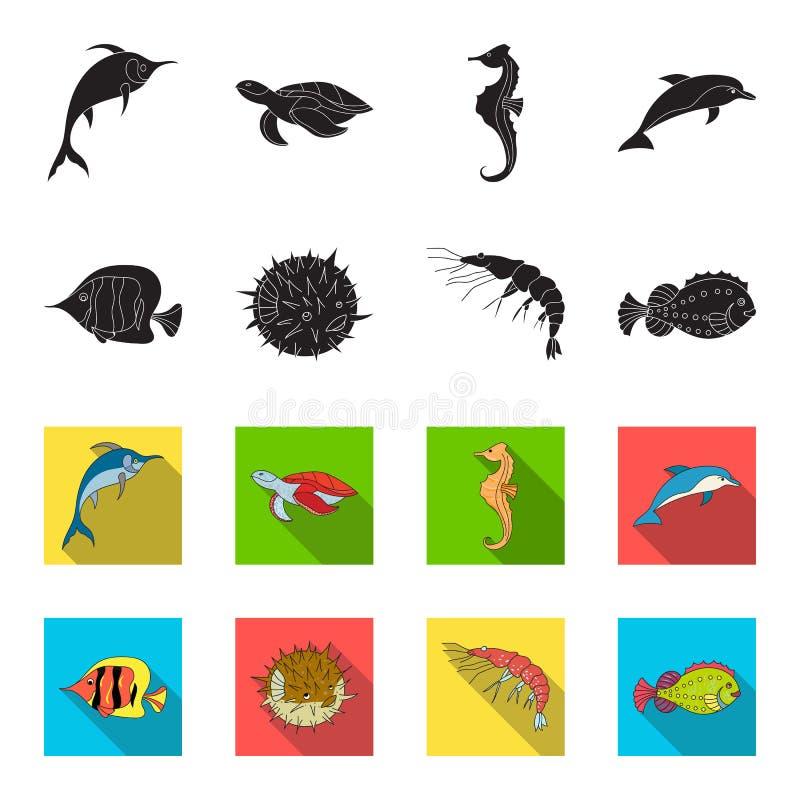 虾、鱼、猬和其他种类 海洋动物设置了在黑色的汇集象, flet样式传染媒介标志股票 库存例证