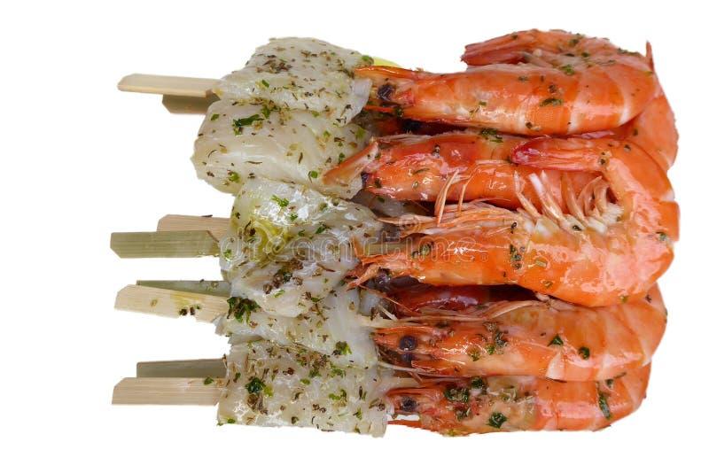 虾和鱼烤肉的 免版税库存图片