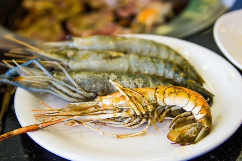 虾在餐馆 免版税库存照片