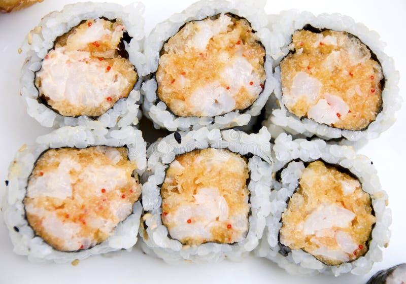 虾天麸罗寿司卷 库存图片