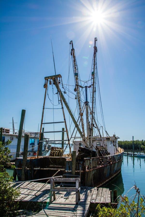 虾小船墨西哥湾 库存照片