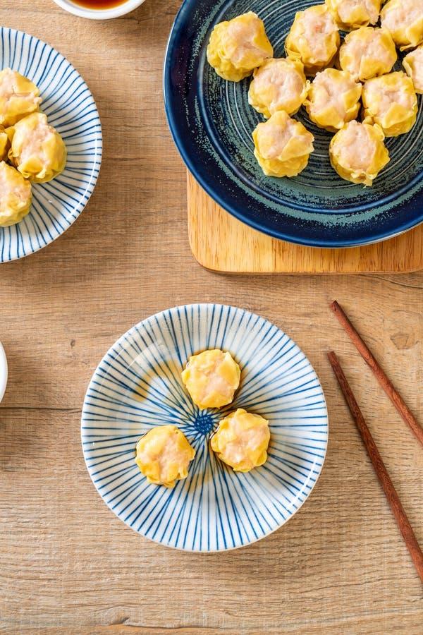 虾汉语蒸的饺子 免版税库存图片