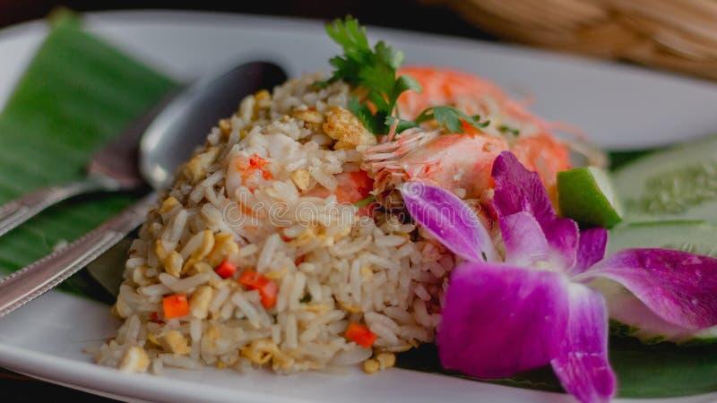 虾炒饭泰国食物 免版税库存图片
