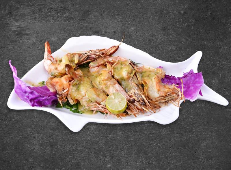 虾用蘑菇酱油 免版税库存照片
