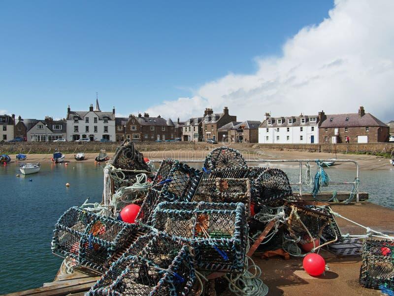 虾笼在Stonehaven港口,苏格兰 免版税图库摄影