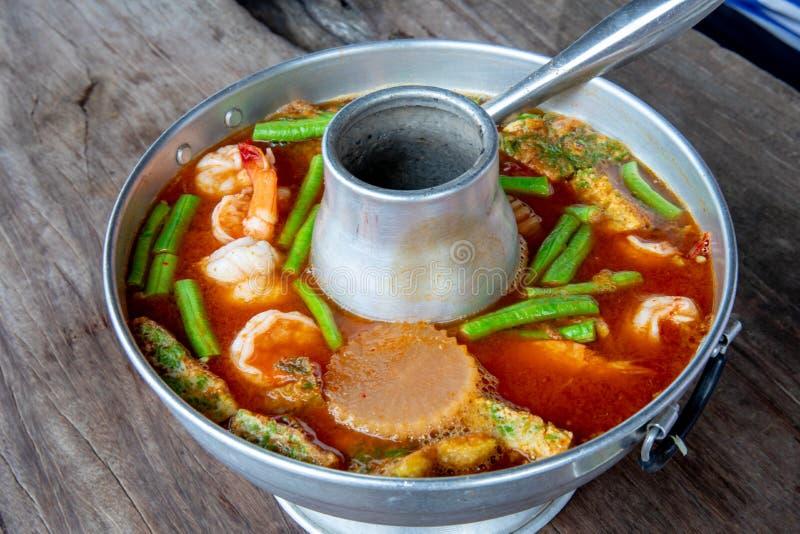 虾酸汤,可口泰国传统食物 库存照片