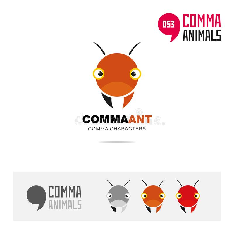 蚂蚁动物概念象集合和现代品牌身份商标模板和根据逗号的app标志签字 库存例证