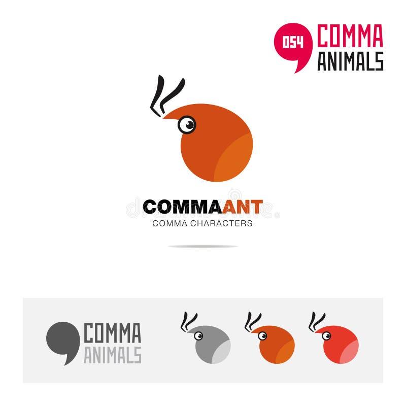 蚂蚁动物概念象集合和现代品牌身份商标模板和根据逗号的app标志签字 皇族释放例证