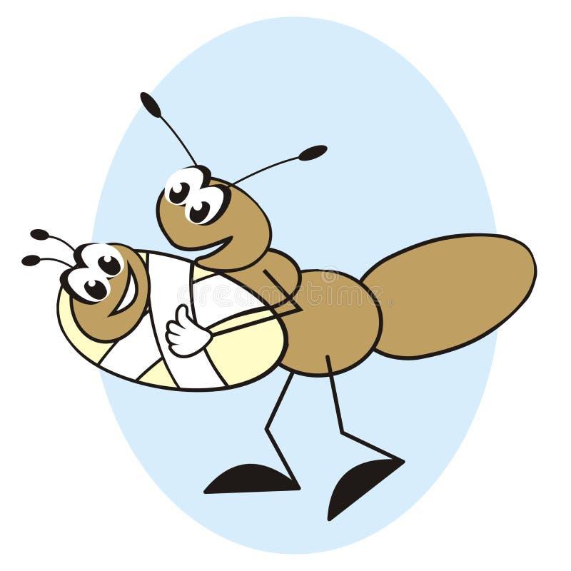蚂蚁和婴孩 库存例证