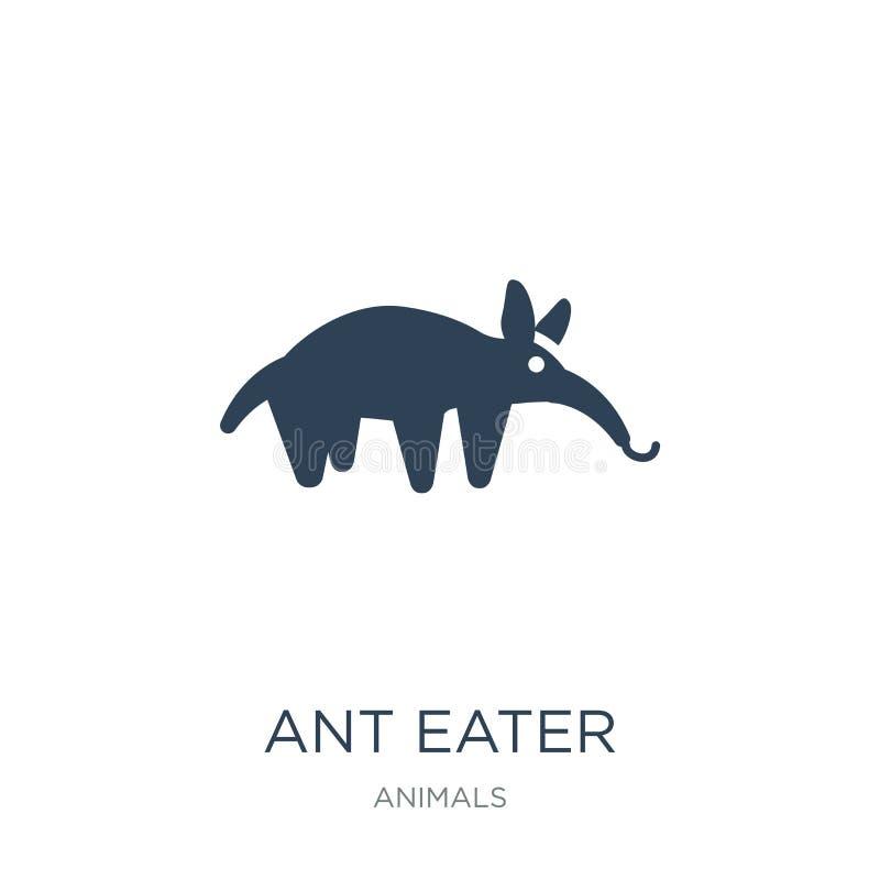 蚂蚁在时髦设计样式的食者象 蚂蚁在白色背景隔绝的食者象 蚂蚁食者传染媒介象简单和现代舱内甲板 向量例证
