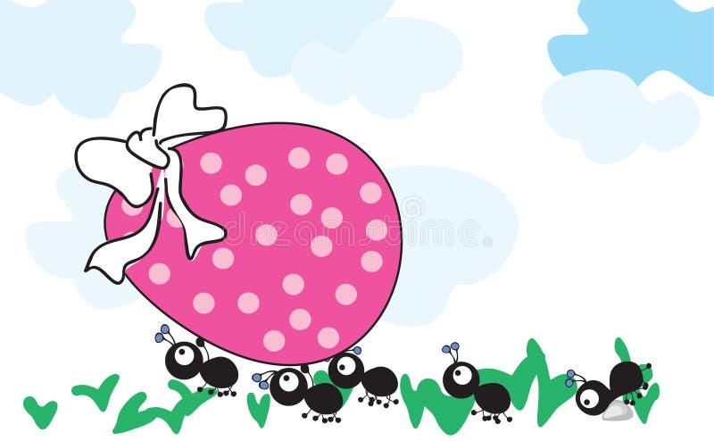 蚂蚁复活节彩蛋 向量例证
