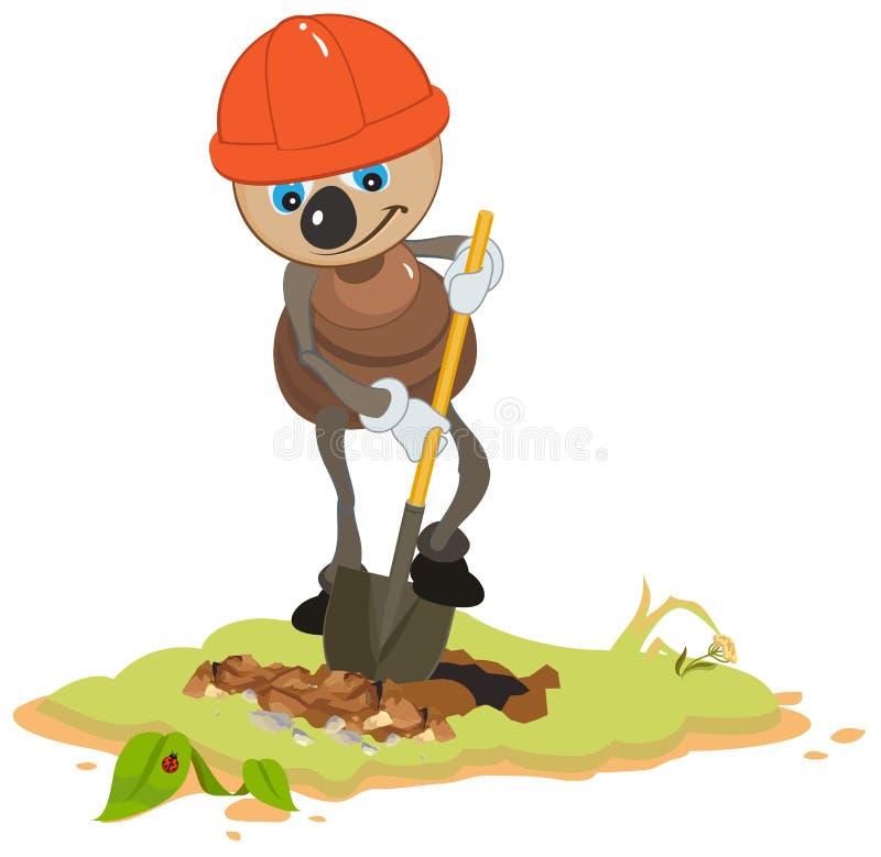 蚂蚁工作者开掘的铁锹坑 皇族释放例证
