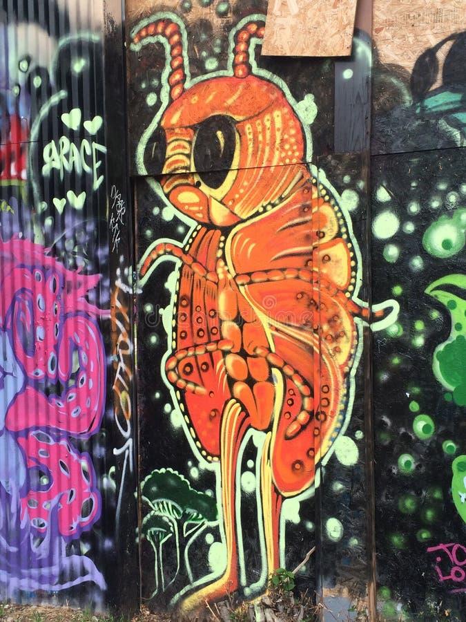 蚂蚁或一些臭虫走的街道画 免版税图库摄影