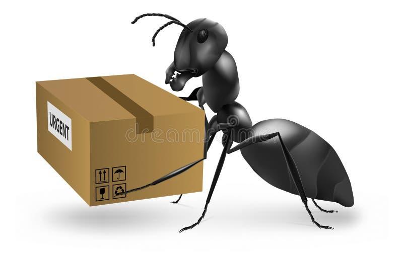 蚂蚁搭载邮递员紧急程序包的邮差 库存例证