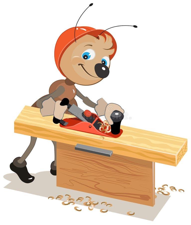 蚂蚁木匠计划的板飞机 库存例证