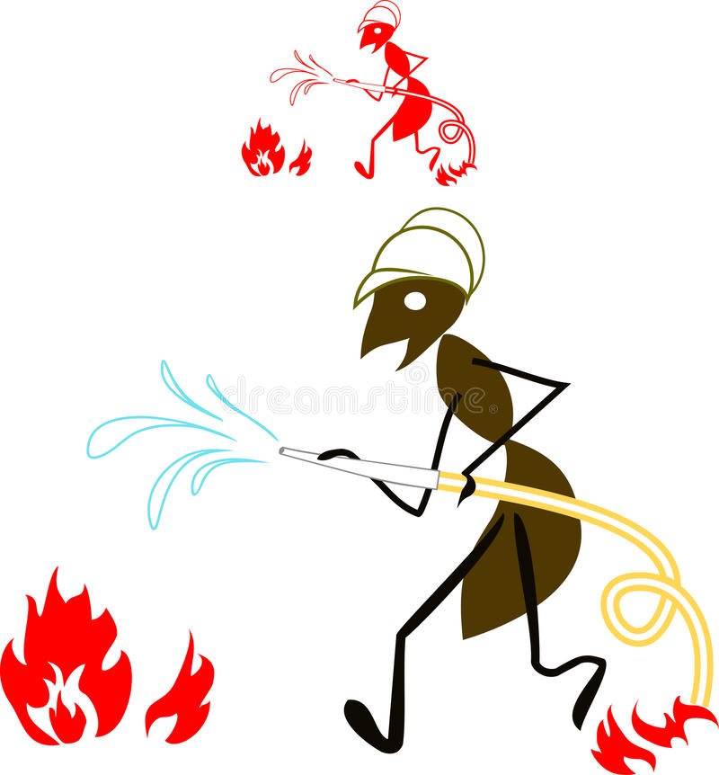 蚂蚁消防员 向量例证