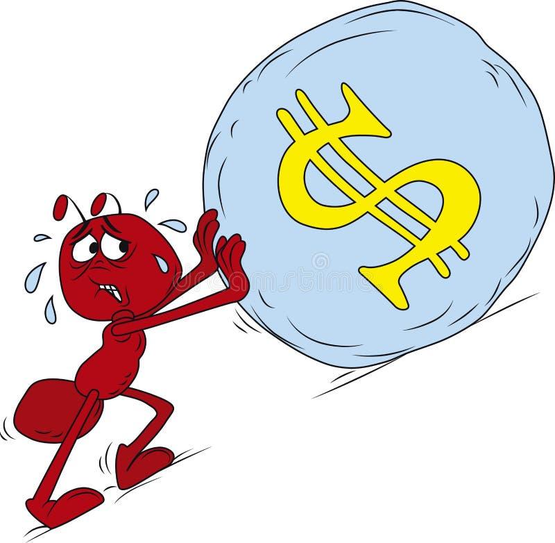 蚂蚁红色sisyphus 皇族释放例证